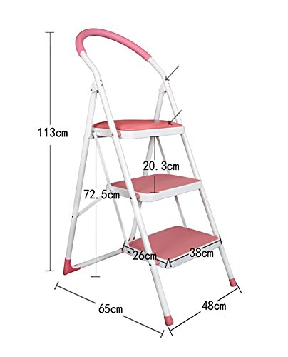 MS Iron Foot Bench - Adult Children's Ladder Folding Chair Indoor Kitchen Portable Ladder/Storage Rack/Footstool/Flower Stand/Black/Pink/White Step Stool Retractable Ladder