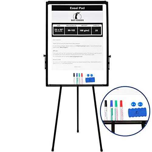 Flip Chart Set (Whiteboard Easel/Flipchart Set - Tripod White Dry Erase Board 40 x 28 + 1 Magnetic Dry Eraser, 4 Dry-erase Colorful Marker Pens, 2 Magnets and 23 x 32 Flip Chart Paper Pad Pack 25 pcs)
