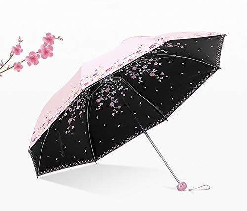 LFSMARKET Compact Sun & Rain Travel Umbrella Anti-UV Lightweight Portable Parasol Sunshade UV Protected Triple Folding Windproof Shiny Umbrellas for Women Girls Both Sides Flowers Printing Pink ()
