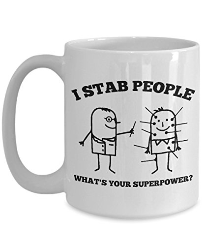 Acupuncture Coffee Mug, Best Funny Unique Chiropractic Tea Cup Perfect Gift Idea For Men Women - I stab people what's your -