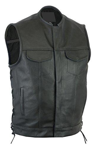 Gunmetal Leather Vest (Sunrise Outlet Upgraded Style Gun Pockets Hidden Gun Metal Zipper Side Laced Vest - 7XL)