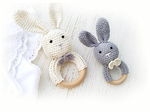 Natural Wooden Baby Toys Cotton Crochet Bunny Teething Ring Teether Rattle SET OF 2 Newborn Unisex baby Shower gift (White Mama grey baby)
