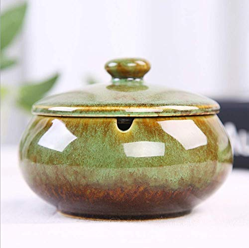 XGPA Handmade Ceramic Ashtray with Lids,Desktop Smoking Ash Tray for Office Decoration,Windproof Ashtray,Cigarette Ashtray for Outdoor Use,Ash Holder for Smokers - Best Gift Idea (Green)