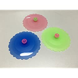 Silicone Suction Cover for Coffee and Tea Cup, Cat Food Can Lid or Jar Lid (Set of 3)