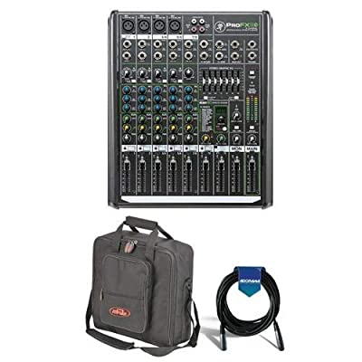 Mackie ProFX8v2 8-Channel FX Mixer with USB, 4 Vita Mic Preamps, 7-Band Graphic EQ - Bundle With SKB Universal Equipment/Mixer Bag, Black, 20' Heavy Duty 7mm Rubber XLR Microphone Cable from Mackie