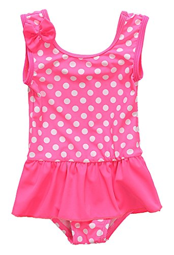 Attraco Baby Girls Polka Dot Ruffle Swimsuit One Piece Swimwear Bowtie 24 Months