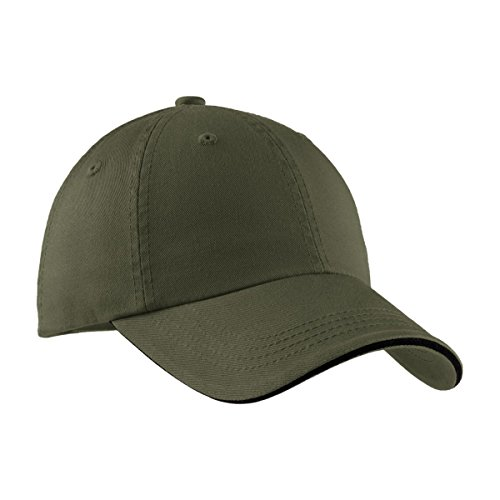 Port Authority Sandwich Bill Cap with Striped Closure, OSFA, Olive/Black