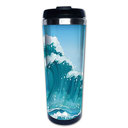 Stainless Steel Insulated Coffee Travel Mug,Tidal Curves Artwork Daytime at Ocean Foam,Blue,Spill Proof Flip Lid Insulated Coffee cup Keeps Hot or Cold 13.6oz(400 ml) Customizable printing