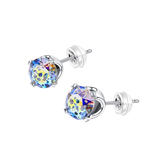 6mm White Gold/925 Sterling Silver Plt,Colorful White Leopard Aurore Boreale Crystal Stone,Earring Stud with Gift Box,Men Women