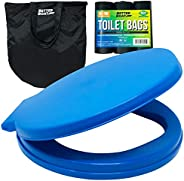Portable Toilet Bucket Toilet Seat Set for Camping Boating Outdoor - Potty Waste Bags and Case - 5 Gallon Buck