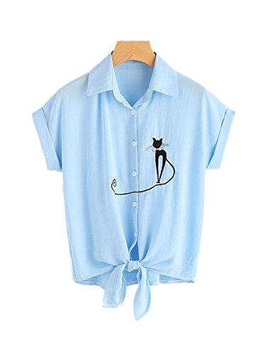 - lili's story Women's Loose Short Sleeve Summer Crop T-Shirt Tops Blouse(Light Blue,Large)