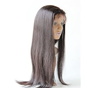 Full Lace Wigs 22″ good-brazilian Hair 100% Real Remy Human Hair Wig Natural Straight #1B trademark:hairpr
