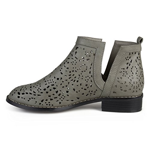 Cut Journee Collection Collection Stacked Womens Heel Booties Laser Grey Journee xHxqd6X