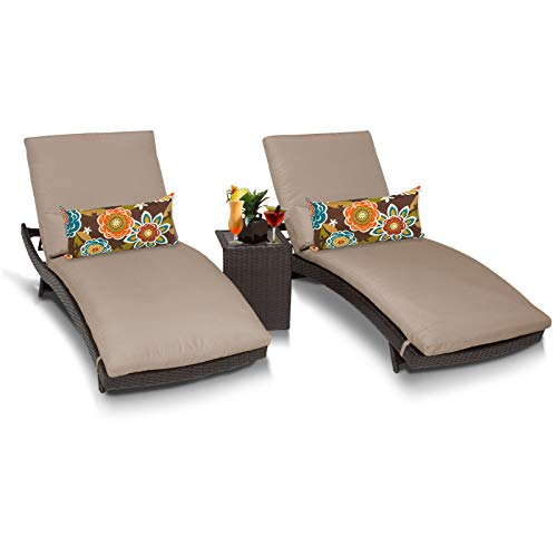 TK Classics BALI-2x-ST Bali Chaise Outdoor Wicker Patio Furniture with Side Table, Set of 2, Wheat