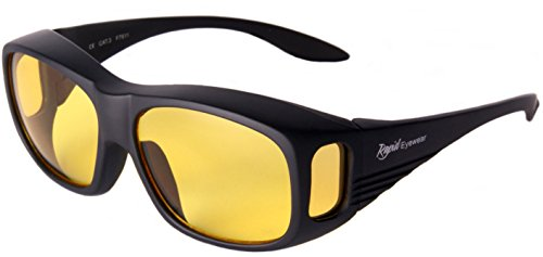 ea529ddf476 Rapid Eyewear Mens and Womens Black Antiglare Night Driving Over Glasses  That Fit Over Prescription Spectacles  Yellow Amber HD Lenses. AR Coated