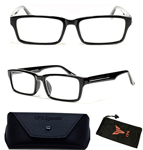(FR6122) Black Rectangular Fashion Casual Retro Silver Trim Reading Glasses (Strength : +1.50 )
