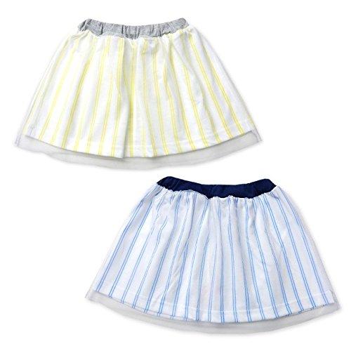 d77e0025219385 Amazon.co.jp: (ブルー/95cm)ベビー服 女の子 スカート ボトム チュールレース ダブルストライプ ウエストゴム 女児 ベビー: 服 &ファッション小物