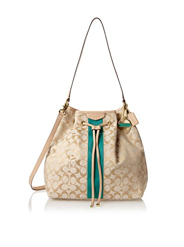 Coach Signature Stripe Drawstring Shoulder Bag 30581 Khaki Green ...