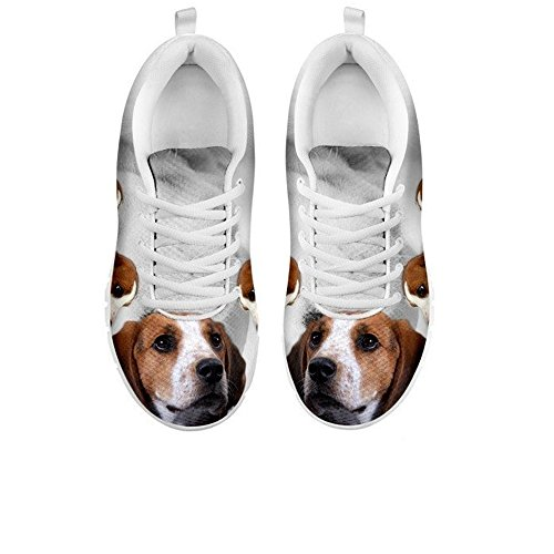 topfinestproducts.com Women's Sneakers-Treeing Walker Coonhound Dog Print Jogging Running Shoes (6, White)