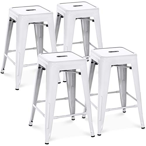 Best Choice Products 24in Set of 4 Indoor Outdoor Stackable Backless Counter Height Stools - White