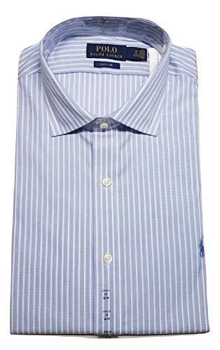 (Ralph Lauren Polo Men's Easy Care Spread Collar Pony Logo Dress Shirt (Blue Mu, XL(17.5 36/37)))