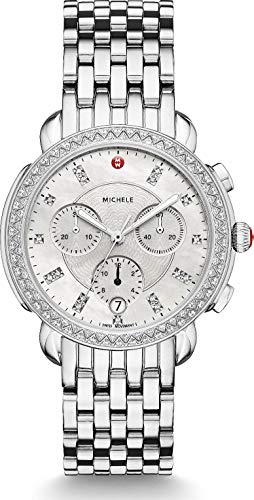 Michele Sidney One Hundred Seventeen Diamonds Swiss Chronograph Mother of Pearl Dial Silver Tone Women's Watch MWW30A000001 - Pearl Tone Dial