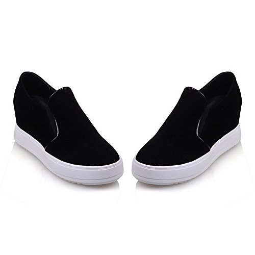 Amoonyfashion Mujer-pull-on Kitten-heels Imitated Suede Solid Round Closed Toe Bombas-zapatos Negro