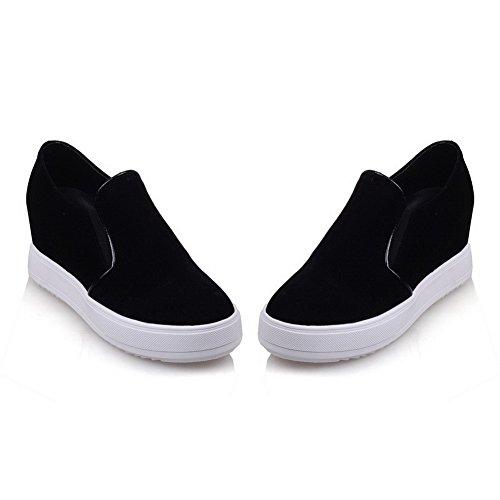 Allhqfashion Dames Solide Frosted Kitten-hakken Pull-on Ronde Gesloten Teen Pumps-schoenen, Zwart, 40