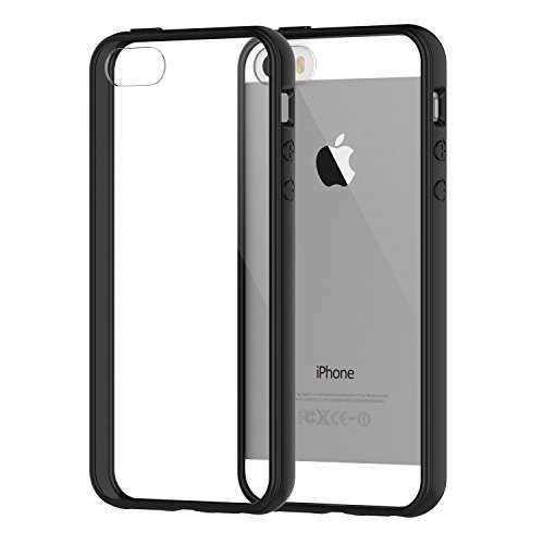 JETech iPhone SE 5 5s Hülle Tasche Schutzhülle Case Cover Bumper Anti-Kratz Zurück (Schwarz)