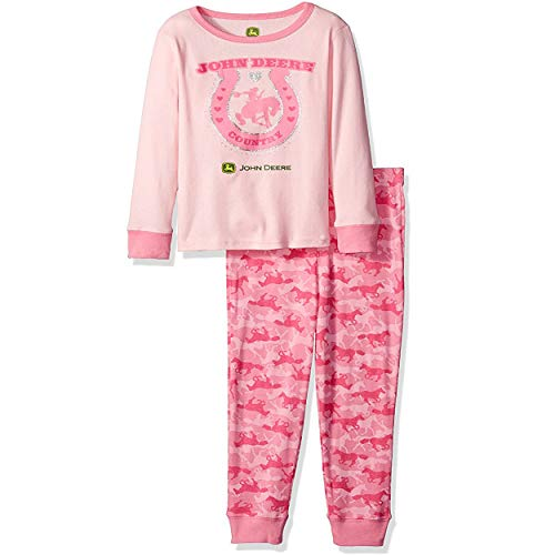 John Deere Toddler Pajamas - John Deere Little Girls' Toddler Horseshoe Pajama Set, Light Pink/Med Pink, 2T