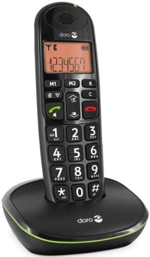 Doro Phone Easy 100W - Teléfono fijo inalámbrico con teclas extra grandes, color negro (importado)