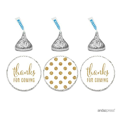 Andaz Press Gold Glitter Print Chocolate Drop Labels Stickers, Thanks for Coming! Polka Dots, White, 216-Pack, Not Real Glitter, For Hershey's Kisses Party Favors ()