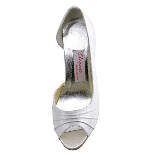 ElegantPark EL-1819 Mujer Peep Toe Stiletto Aguja Thin Tacon D'oray Saten Reception boda Novia zapatos Blanco