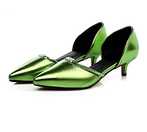 Shoes Career Dress Evening Leatherette Women's D'Orsay Office Party Green Gold Summer Pink amp; Green Red Heel amp; amp; Piece Two Spring MHX Kitten Silver for q56xnUwpp