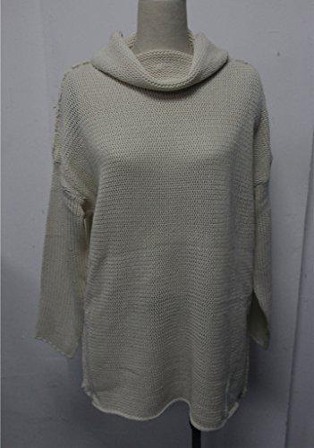 YoungSoul Jersey de Cuello alto Prendas para Mujer Suéter Largo de Invierno Vestidos de Punto Jerséis Pullover con agujero de pulgar Beige