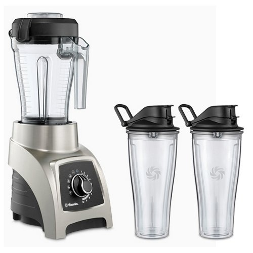 Vitamix S55 Brushed Stainless 40 Ounce Blender with Two 20 Ounce Travel Cups