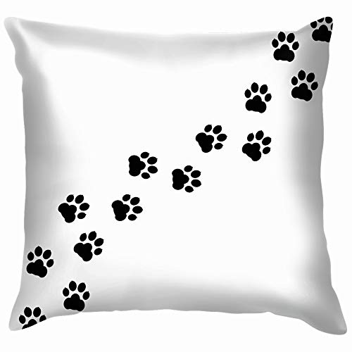 (Black Footprints Dogs Paw Print Animal Animals Wildlife Funny Square Throw Pillow Cases Cushion Cover for Bedroom Living Room Decorative 12X12 Inch)