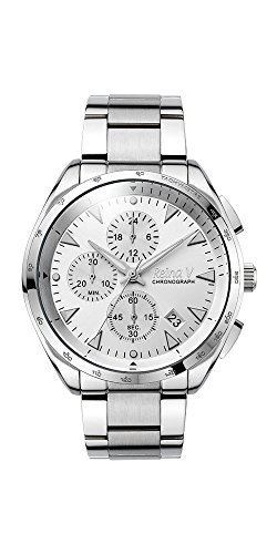 Men's Wrist Watch - Monochromatic Stainless Steel With White Dial - Precision Chronograph Function, Japanese Quartz - Robert Collection By Reina V