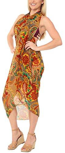 LA LEELA Sheer Chiffon Swimsuit Scarf Deal Dress Sarong Printed 78''X39'' Red_903 by LA LEELA