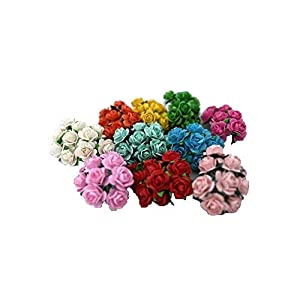 100 Mixed Color 10mm Artificial Mulberry Paper Rose Flower Wedding Scrapbook 1.5cm DIY Craft Scrapbook Scrapbooking Bouquet Craft Stem Handmade Rose Valentines Anniversary Embellishment Mini Roses 3