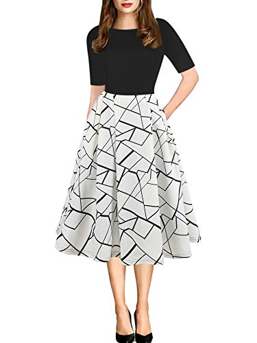 oxiuly Women's Chic Stripe Patchwork Pockets Swing Casual Wedding Evening Dress OX165 (M, BK-White Stripe)