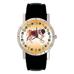 Timest - St. Bernard Dog Photo Design Watch with Leatherband in Black Round Analogue Quartz SABern