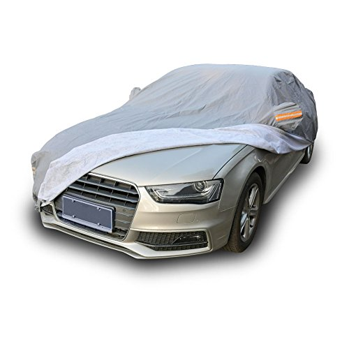 Waterproof All Weather Car Cover, Breathable UV Protection Snow Dust Rain Wind Resistant Automobiles Outdoor Protector Fits up to 185 inches (Gray)