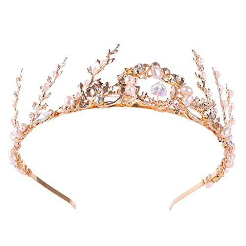 LiPing Luxury Elegant Crown Full of Zircon Freshwater Pearl Tiara Headwear Headband Ladies Jewelry Size:35×5CM (Gold)