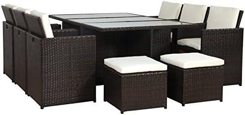 Juego de muebles para jardín de poliratán y aluminio, en color marrón, no requiere montaje, marrón: Amazon.es: Jardín