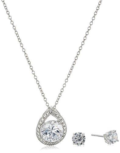 Drop Cubic Zirconia Beads Pendants (Sterling Silver Cubic Zirconia Teardrop Pendant Necklace and Earrings Boxed Jewelry Set, 18