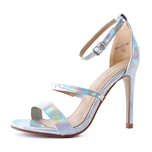 Guilty Shoes Women Sexy Metallic Ankle Strap Open Toe Party Stiletto High Heel Sandals (8.5 M US, iRide Silver)