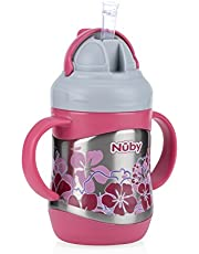 Nuby 2 Handle Stainless Steel Cup Click It with Straw