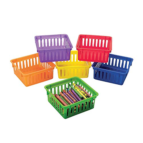 Fun Express Classroom Small Square Plastic Basket (Set of 6) Stacks for Easy - Colored Crayons Plastic