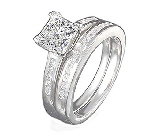 VenetiaDiamond.com Realistic TOP Grade 1 Carat Contemporary Princess Cut Ring Set 925 Silver (7)